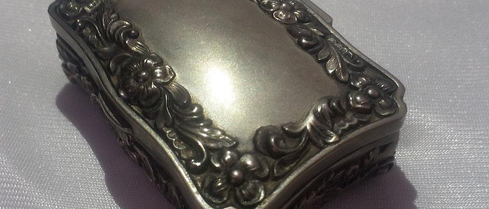 Edwardian Metal Jewelry Display Box With Velvet Interior circa 1915