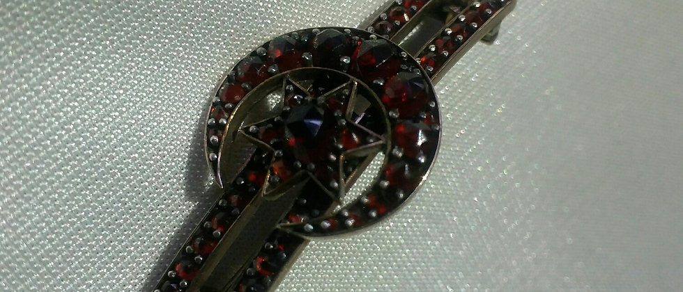 Victorian Gold Cluster Rose Cut Garnet Crescent Moon and Star Brooch Circa 1860