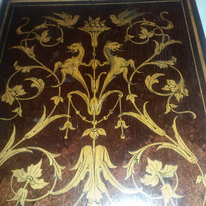 Italian Marquetry Inlaid Table Mirror Online Antique Store Estate Jewelry and Collectibles | House of piqué