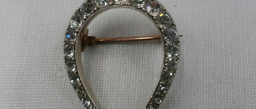Art Deco Silver Paste Horseshoe Brooch Circa 1920