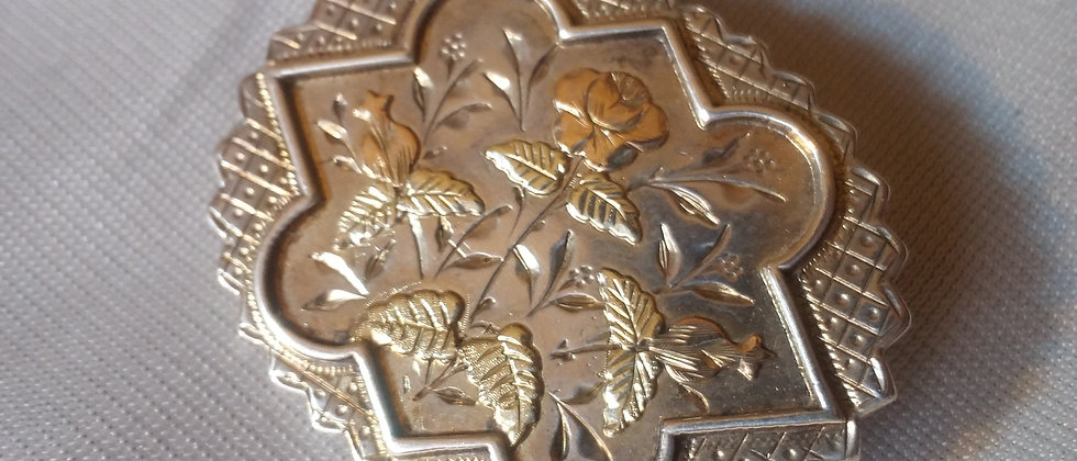 English Victorian Silver Brooch With Gold Front Floral Design circa 1880
