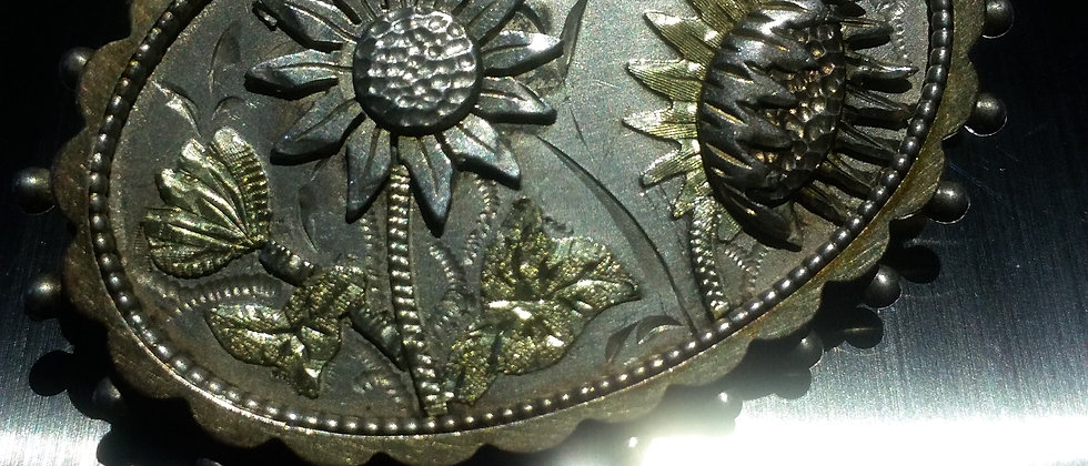 English Victorian Silver Floral Brooch With Gold Front circa 1885