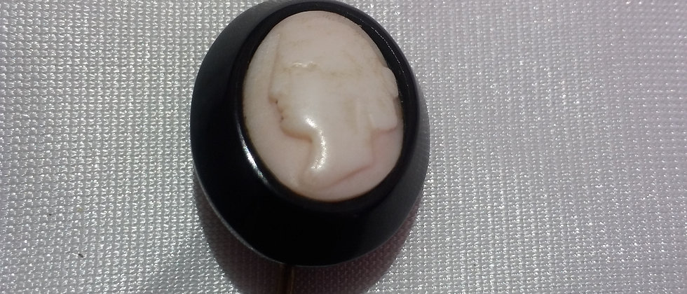Victorian Whitby Jet Pink Shell Cameo Stick Pin circa 1860