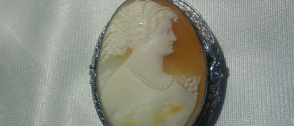 Art Deco Silver Plated Cameo Brooch circa 1920
