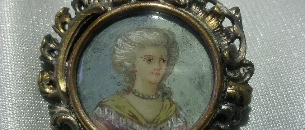 French Gilded Portrait Miniature Brooch circa 1890
