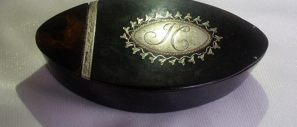 Georgian Tortoiseshell Silver Pique Snuff Box Circa 1820
