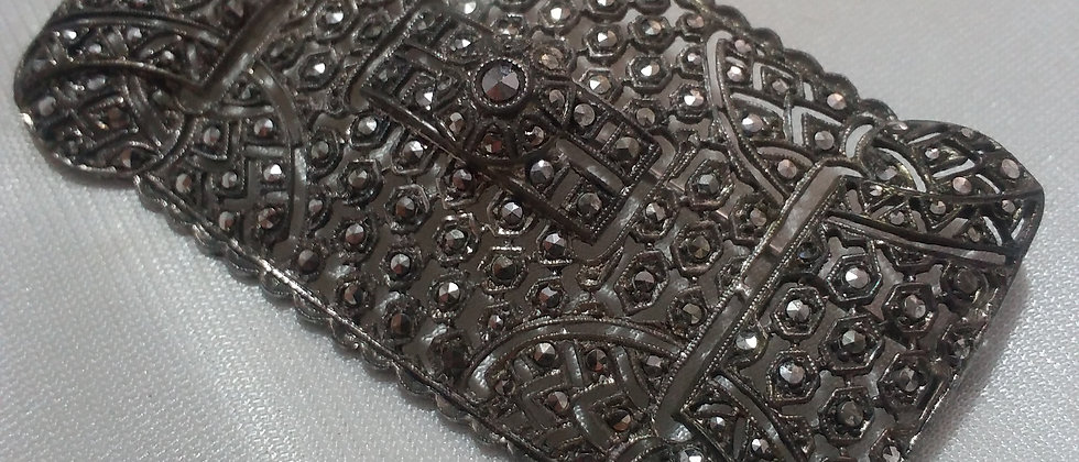 Art Deco Silver Marcasite Large Size Brooch in Display Case circa 1940