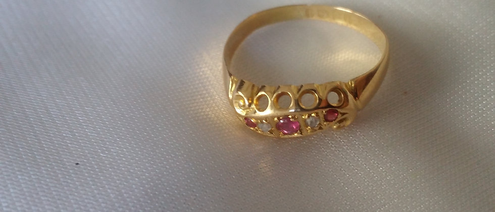 Edwardian 18ct Gold, Ruby and Diamond Ring Size circa 1915