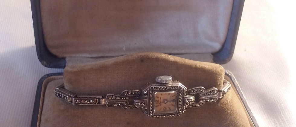 Art Deco Silver Marcasite Cocktail Watch 17 Jewels In Display Case circa 1935