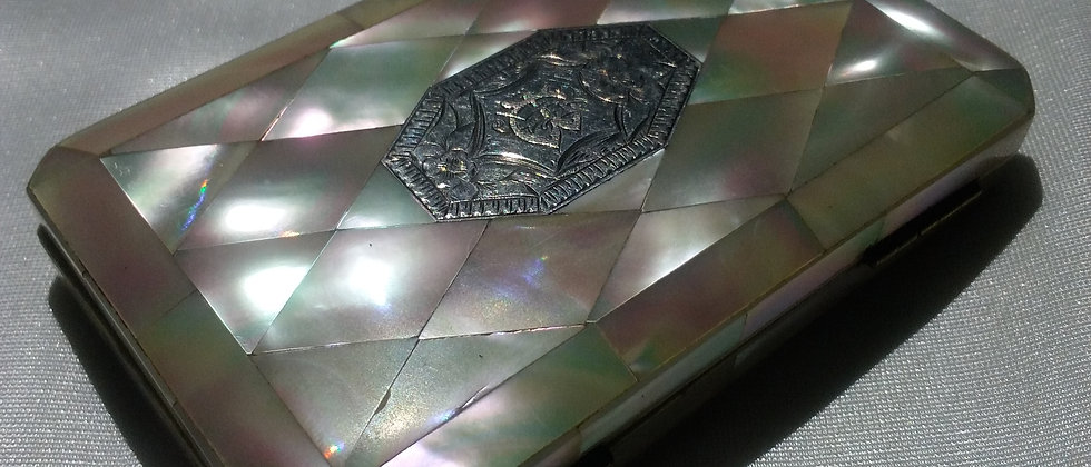 Victorian Silver Mother of Pearl Card Case Circa 1880
