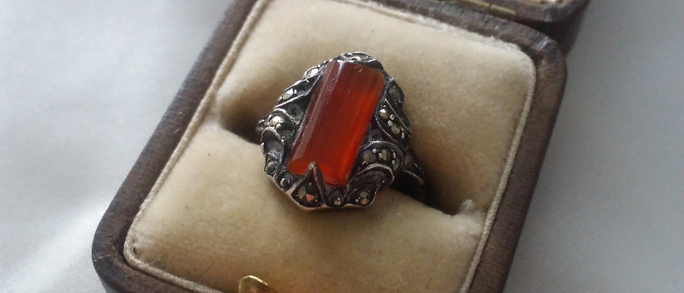 Art Deco Silver Carnelian Marcasite Ring in Display Case Size M Circa 1925