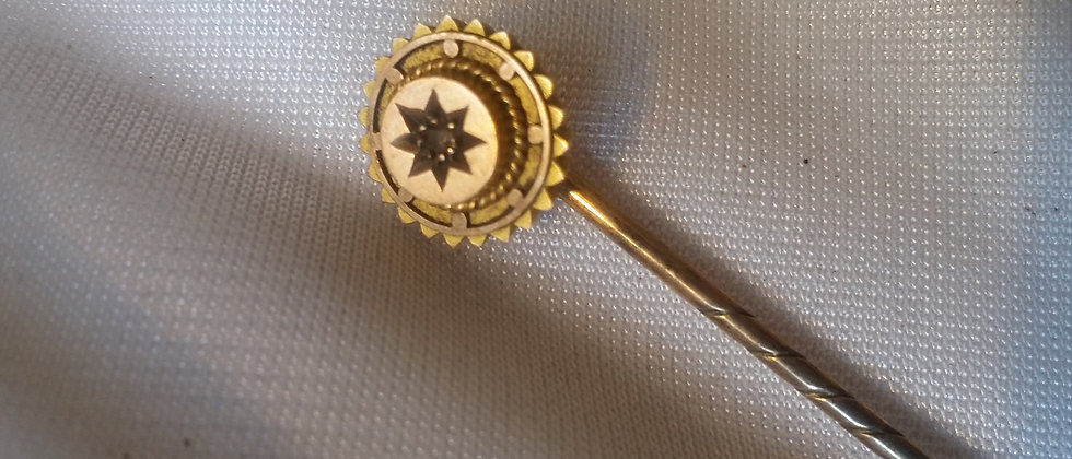 Victorian 9ct Gold & Old Mine Cut Diamond Stick Pin c.1880