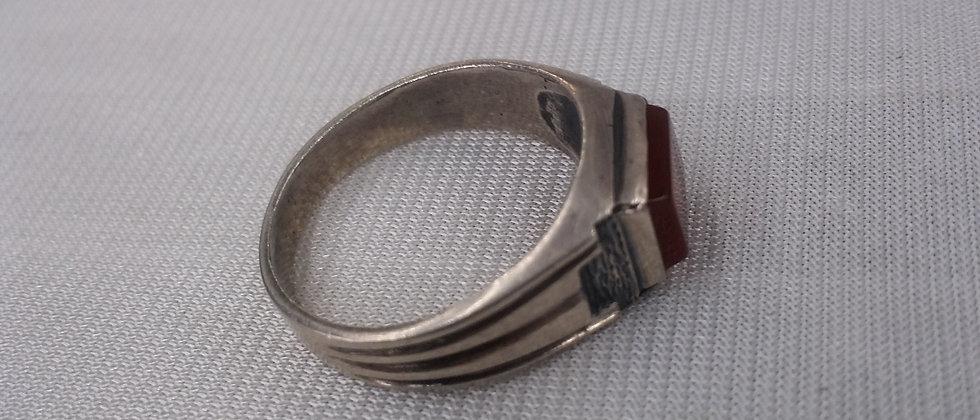 Art Deco Silver Carnelian Men's Signet Ring Size .. circa 1930