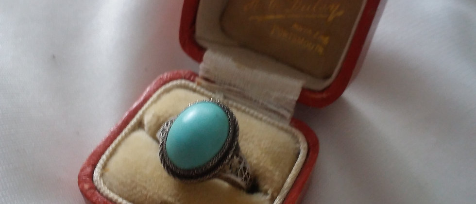 Art Deco Silver Filigree Turquise Ring In Display Case Size K Circa 1920
