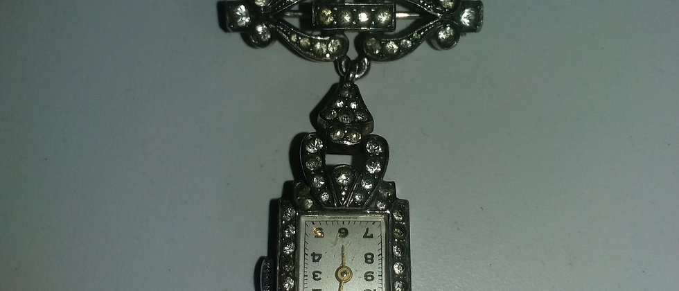 Art Deco Silver and Paste Nurses Watch Brooch With Swiss Movement circa 1935