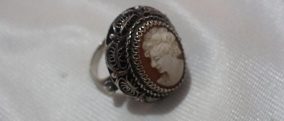 Edwardian Filigree Silver Cameo Ring Size ? circa 1910