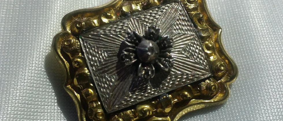 Georgian Diamond and Gilt Metal Sentimental Brooch circa 1820