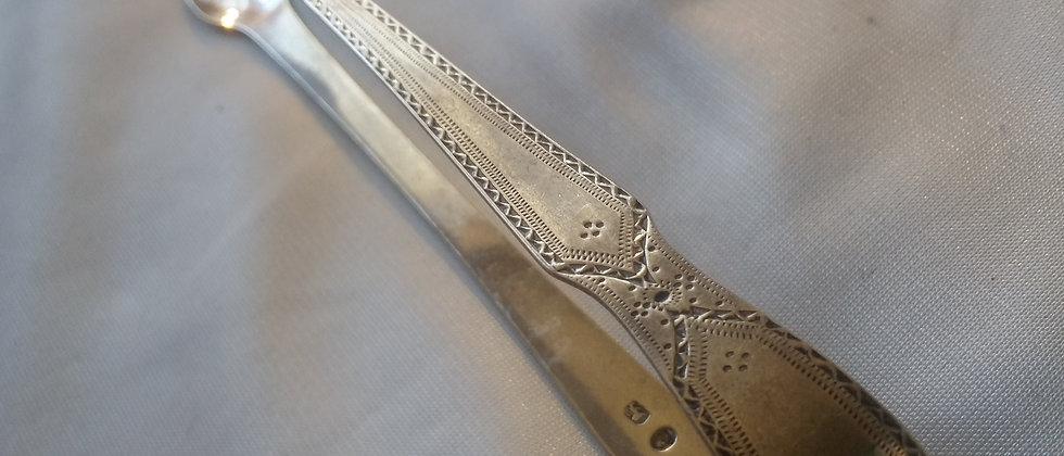 English Georgian Engraved Silver Sugar Thong circa 1820