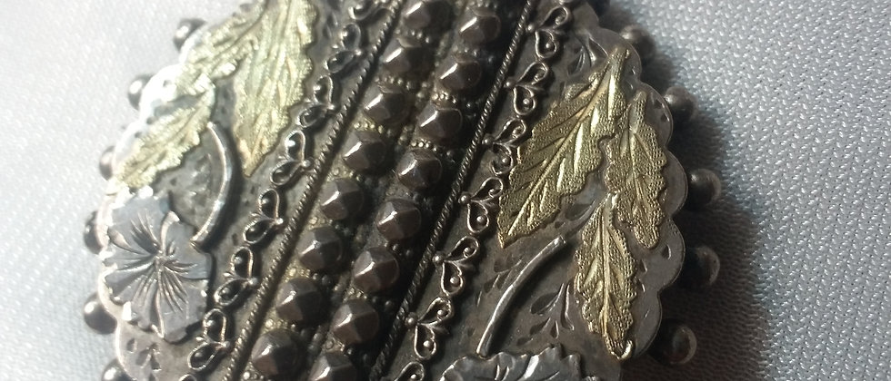 English Victorian Gold And Silver Brooch circa 1880