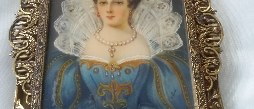 French Portrait Miniature in Gilded Frame circa 1870