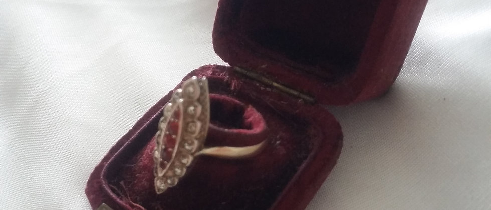 French Gold and Silver Paste Ring In Display Case Size O circa 1905