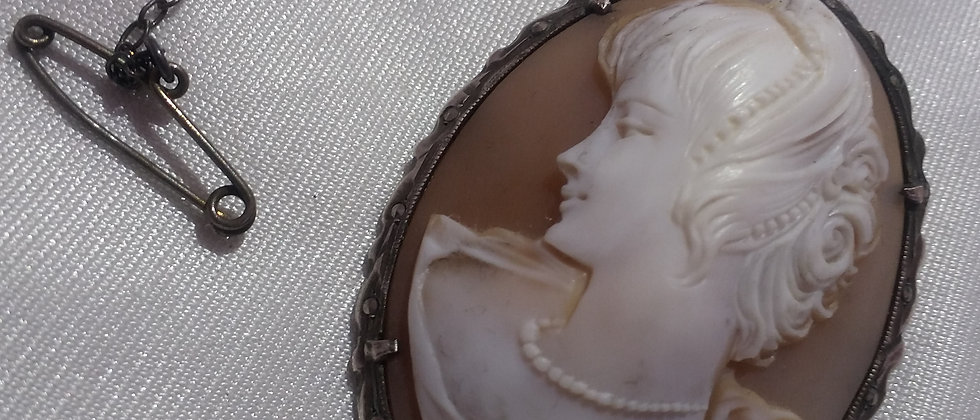 Art Deco Silver Marcasite Shell Cameo Circa 1920