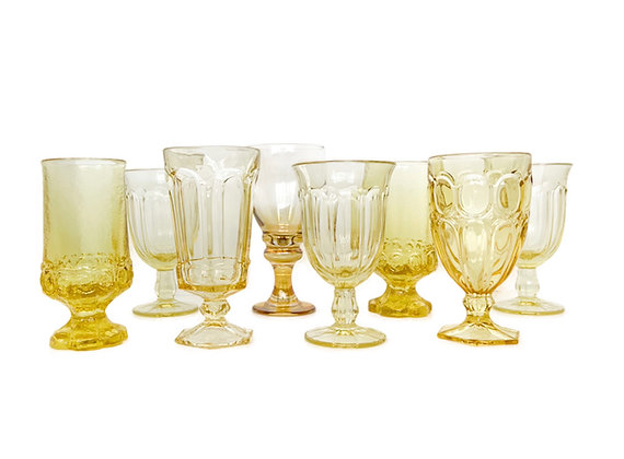 YELLOW VINTAGE GOBLETS