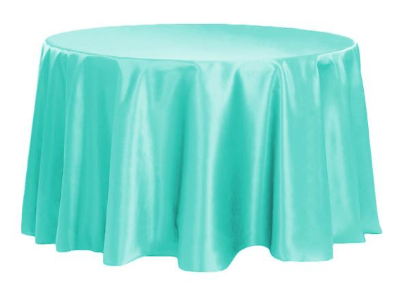 TURQUOISE BRIDAL SATIN TABLECLOTHS