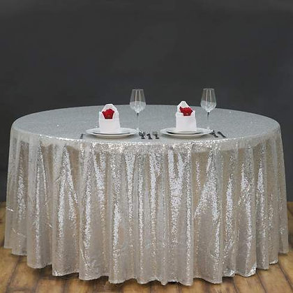 SILVER SEQUIN TABLECLOTHS