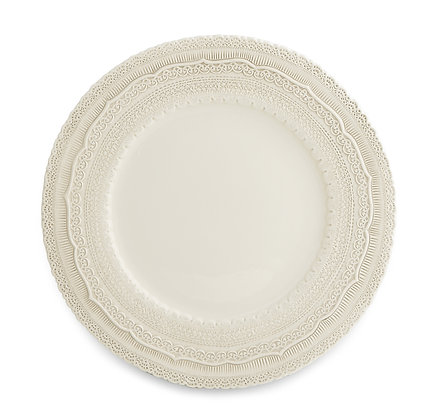 CREAM LACE CERAMIC CHARGER PLATE