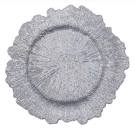 SILVER ACRYLIC REEF CHARGER PLATE