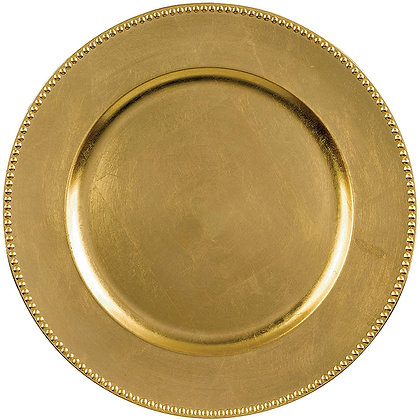 GOLD BEADED ACRYLIC CHARGER PLATE