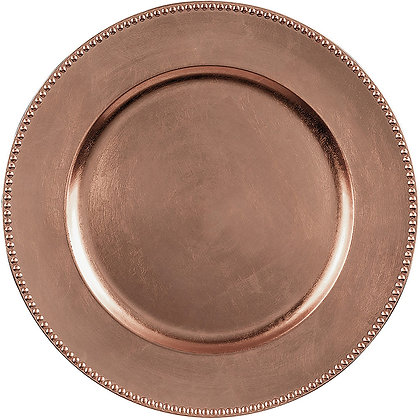 ROSE GOLD BEADED ACRYLIC CHARGER PLATES