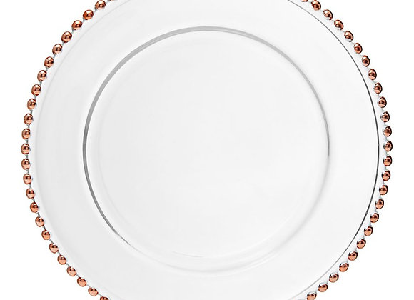 ROSE GOLD BEADED GLASS CHARGER PLATE