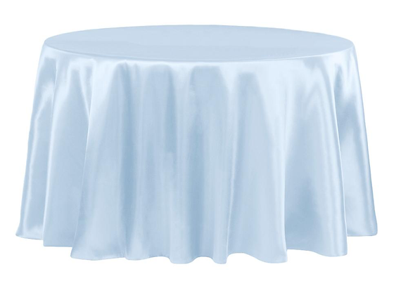 BABY BLUE BRIDAL SATIN TABLECLOTHS