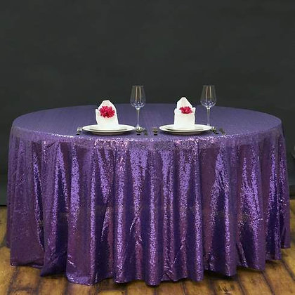 PURPLE SEQUIN TABLECLOTHS