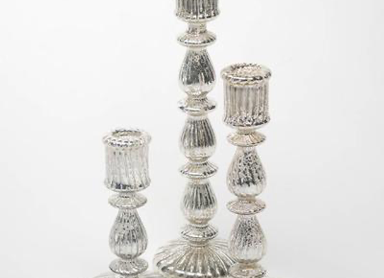 Antique Mercury Glass Taper Candle Holder Set
