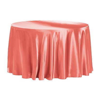 CORAL LAMOUR SATIN TABLECLOTHS