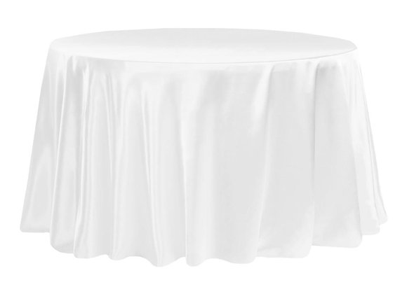 WHITE BRIDAL SATIN TABLECLOTHS