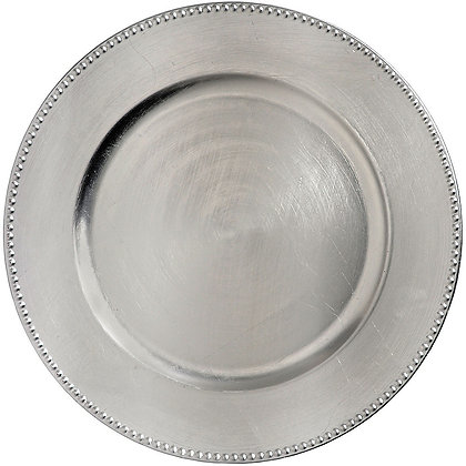 SILVER BEADED ACRYLIC CHARGER PLATES