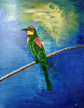 Magical Bird On A Branch - An Oil Painting by Mainak Majumdar