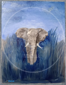 Elephant In A Blue Jungle - An Oil Painting