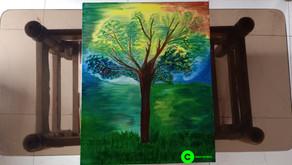 Oil Painting of 'Serene Immaculate Imaginary Kalpavriksha'
