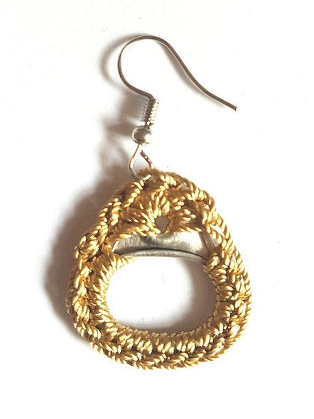 Boucles d'oreilles pendante inoxydable créateur femme capsule canette fait main originale MadeInFrance gold upcycling biethic