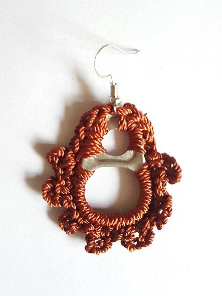 Boucles d'oreilles pendantes inoxydable créateur femme capsule canette fait main originale red upcycling biethic MadeInFrance