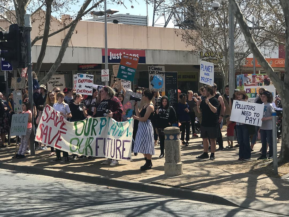 Activists take to the streets of Shepparton as part of the Global Climate Strike.