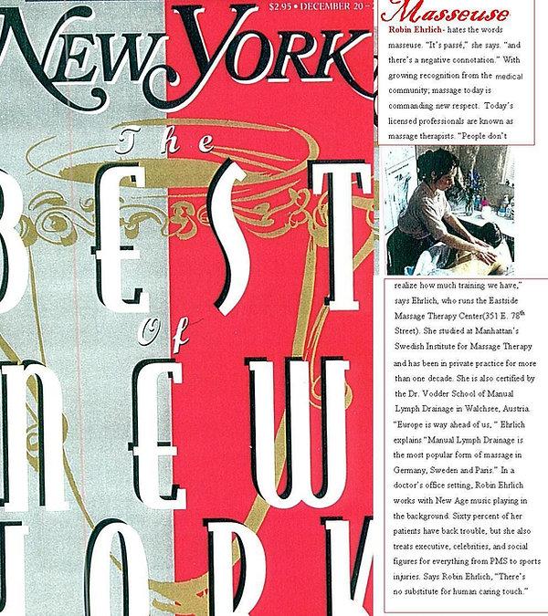 New York Magazine Best of New York Robin Ehrlich Eastside Massage