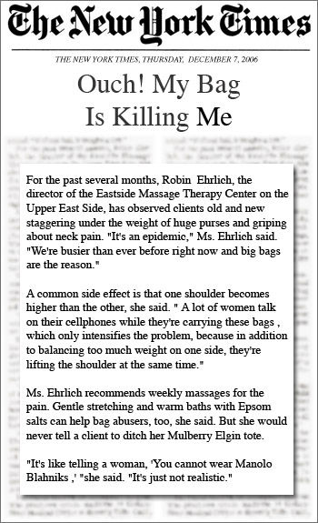 "New York Times ""Ouch My Bag is Killing Me"" Interview with Robin Ehrlich"