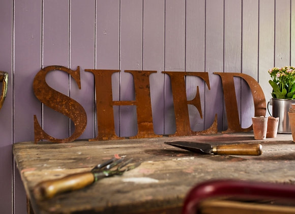 Rusty Metal Letters - Shed Sign