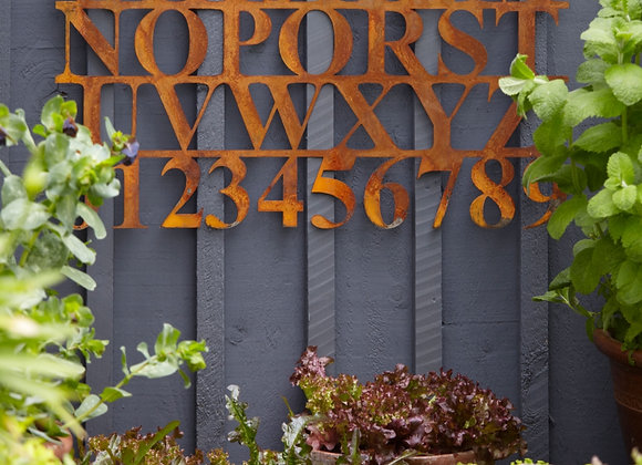 Rusty Metal Wall Art - Letters and Numbers